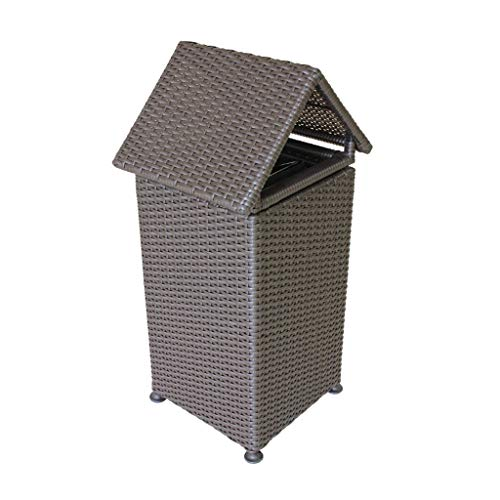 Gran capacidad Papeleras tejidas a mano Cubos de basura al aire libre Parque de la escuela creativa Bote de basura Grandes contenedores de reciclaje en el exterior / Residuos de jardín y contenedores