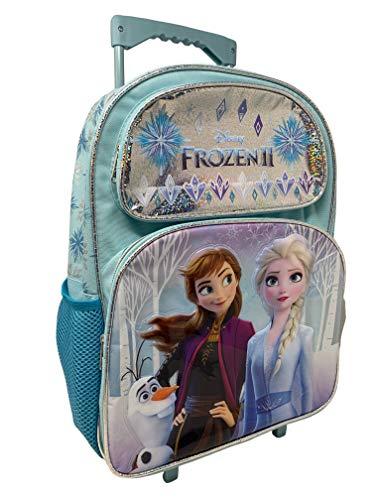 "Disney Frozen 2 Elsa Anna Oalf 16"" Large Rolling School Backpack Plus Stationery Set"