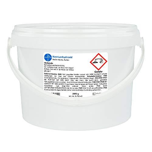 Natriumhydroxid E524 - Ätznatron >99,5% Perlen, rein I Eimer mit 2 x 1000 g I HERRLAN Qualität I Made in Germany