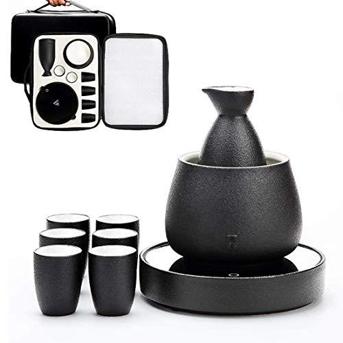 DLILI Juego de Sake y Tazas con Calentador, Juego de Bebida de Saki Caliente de cerámica Japonesa Tradicional de Porcelana, con Bolsa de Almacenamiento de Sake, B, 9 Piezas