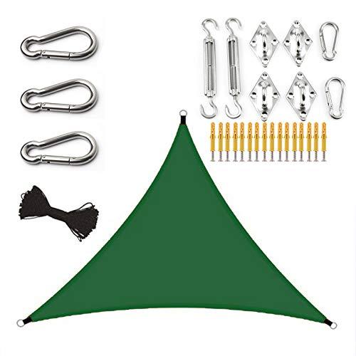 ZJHTK Toldo Vela, Triangular Viento Protección Protección UV Transpirable Cuerdas de Fijación Toldo Vela de Sombra para Terraza Jardín Camping Terraza,Verde,6X6X6M