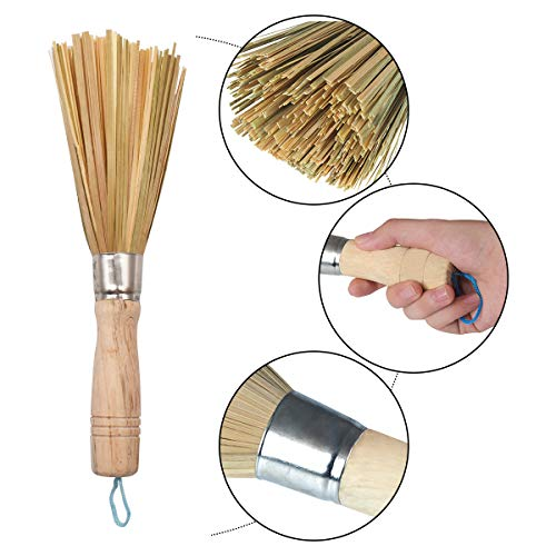 Cepillos de Bambú para Wok,RoadLoo 4 Pcs Cepillo Limpieza de Mango Largo Cepillo de Hierro Fundido Wok Clean Brush Cepillos para Sartén Paquete para Cocinas Caseras Restaurantes Herramientas Limpieza