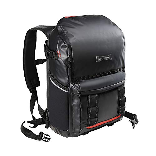 Aquabourne Waterproof Backpack Commuter Bike Bag with Integrated LED Cycling Light & Expandable Shoe Compartment (Midnight)