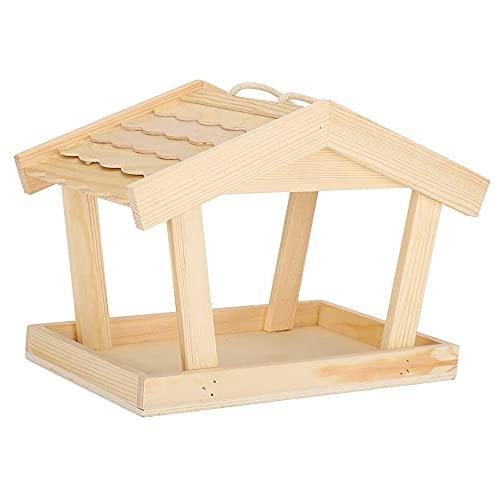 ANCLLO Alimentador de semillas de pájaros de madera al aire libre Porche Decorativo Casa Accesorios para pájaros carpinteros cardenales pájaros grandes