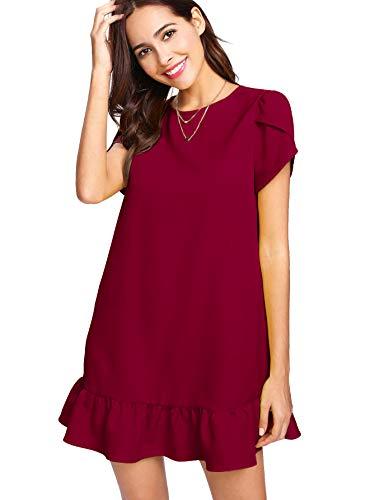 Unibelle Damen Kleider Tunika Tshirt Kleid Kurzarm MiniKleid Sommerkleid für Damen Brautkleid Minikleid Rundhals