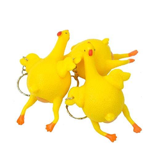 3pcs Divertenti Deporre Le Uova Di Stress Bottiglie Relief Chiave Pollo Uovo Toys Pollo Reliever Palla