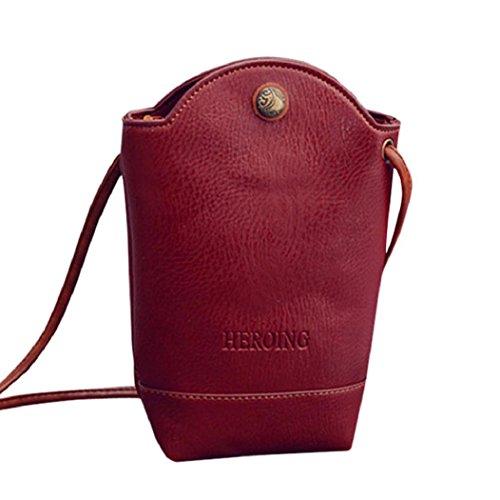 Rovinci Damen Kurier-Beutel Schlank Umhängetaschen Handtasche aus PU-Leder Kleine Körper Taschen (rot)