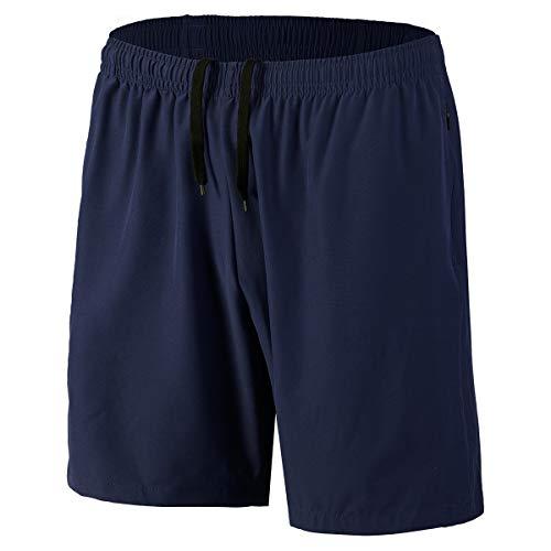 Herren Sport Shorts Schnell Trocknend Kurze Hosen mit Reißverschlusstaschen (Marine XL)
