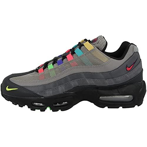 Nike Air Max 95 SE, Scarpe da Corsa Uomo, lt Charcoal/Univ Red-Black-Lemon Venom-Scream Green-Obsidian, 42.5 EU