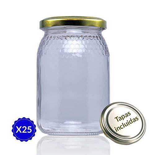 Tapas Rioja 380 ml (1/2 kg) - Medio Pack 25 u. Tarro de Cristal para Miel, Unidades
