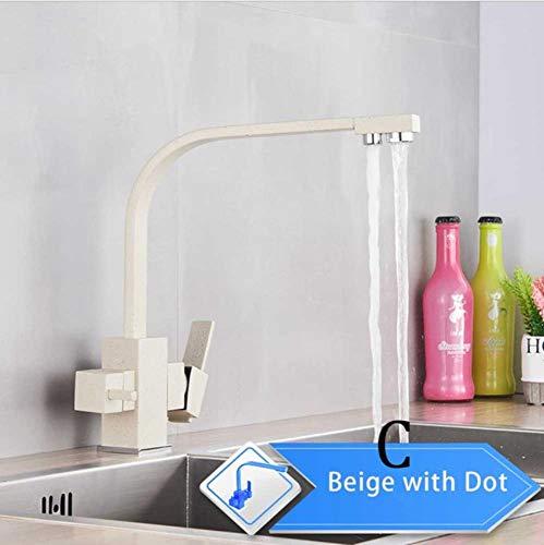 Zuivering Keukenkranen Zwart Uittrekbare keukenwaterfilterkraan 3-weg mengkraan Beige met punt C