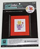 Artiste Mini Teacup Kitty Counted Cross Stitch Kit Design Size 4.25' x 5.93'