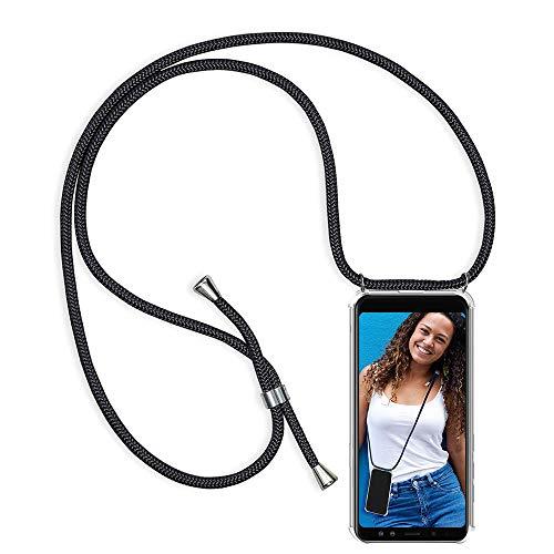 Handykette Kompatibel mit Huawei P8 Lite 2017 Hülle, Smartphone Necklace Schutzhülle, mit Band Stylische Transparent Stoßfest Kratzfest Silikon Handyhülle - Schnur mit Case zum Umhängen in Schwarz