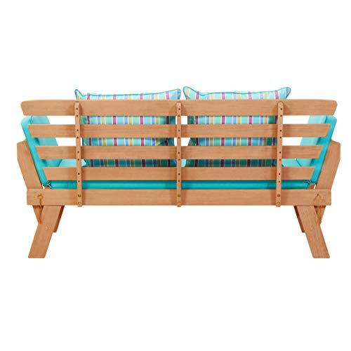 greemotion Multifunktionsbank Borkum akazie/blau, inklusive Kissen, als Sofa und Liege nutzbar, Gartenbank aus FSC® Akazienholz, Holzbank mit leicht schräger Rückenlehne - 13
