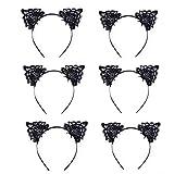 JZK 6 x Encaje de negro diademas de orejas de gato banda cabello banda de pelo para niñas y mujeres fiesta y decoración diaria regalo de cumpleaños de navidad
