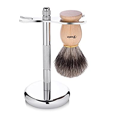 Fento Badger Hair Shaving Brush and Chrome Razor Stand