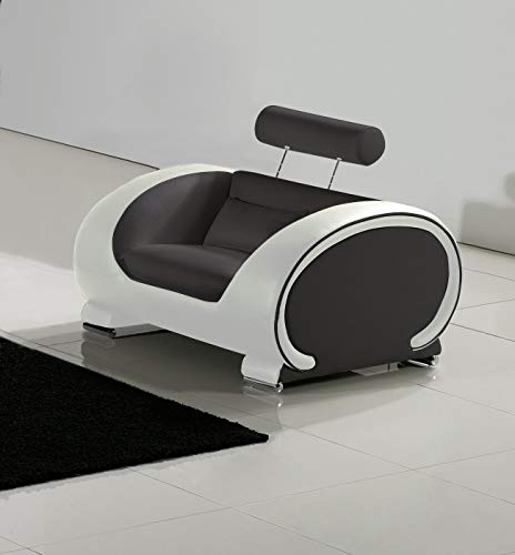 SAM Sessel Vigo, grau/weiß, Couch aus Kunstleder
