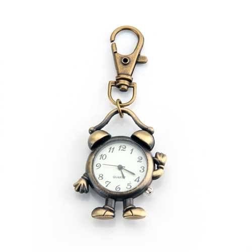 Skyllc® Bronze Metall Retro Weckuhr Roboter Schlüsselanhänger Anhänger mit Uhr