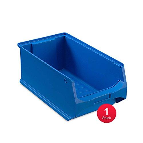 aidB Sichtlagerbox, stabile Stapelbox aus Kunststoff, Lagerbox, ideal für Kleinteile (4.0-350x200x150, Blau)