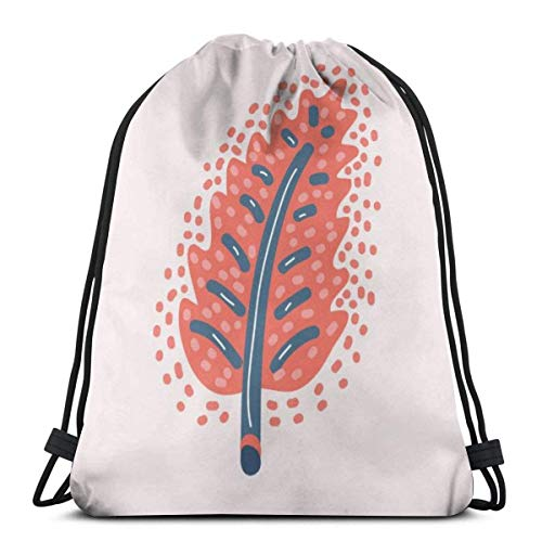 Lsjuee Cute Cartoon Leaf Gym Sack Water Resistant Bag School Bag Backpack,Perfect for School,Sports,Beach,Books & Travel