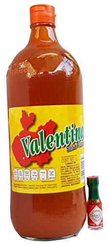 Valentina Salsa Picante 1 litro (etiqueta roja) y 1 minitabasco