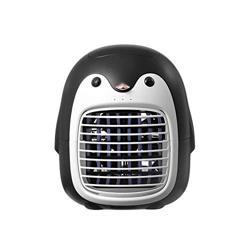 Mini Ventilador Portátil, Ventilador PingüInos Enfriamiento Inalámbrico Aniones, Ventilador Escritorio Enfriamiento Pequeño, Aire Acondicionado Recargable Usb Ventilador Pequeño Eléctrico, Negra
