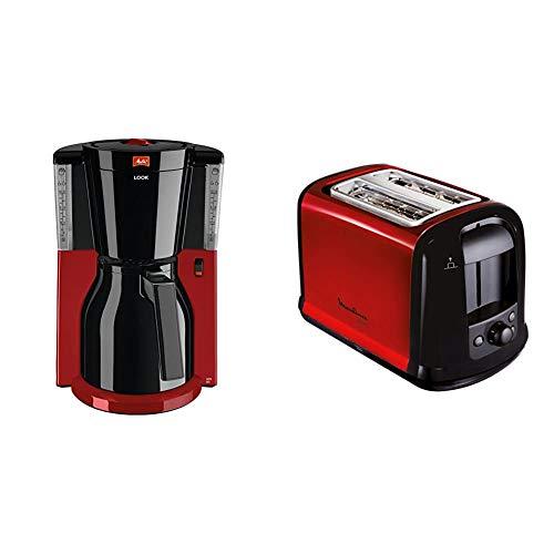Melitta Look Therm 1011-18, Filterkaffeemaschine, AromaSelector, Kaffeemaschine, Kunststoff, 1.2 liters, Thermkanne Schwarz/Rot & Moulinex LT261D Toaster Subito, rot metallic,Rot, Schwarz