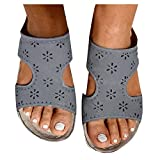 Aniywn Orthotic Sandals Women's Flip Flops with Arch Support Sandals Open Toe Comfort Slippers Hollow Beach Sandals Gray