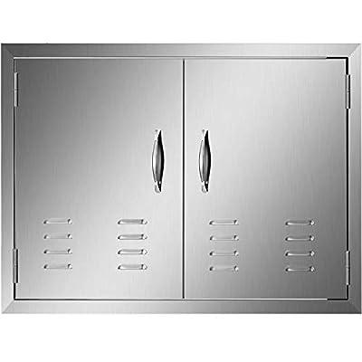 Mophorn 30 x 21 Inch Double Door Flush Mount with Vents BBQ Access Door Stainless Steel for BBQ Island Outdoor Kitchen