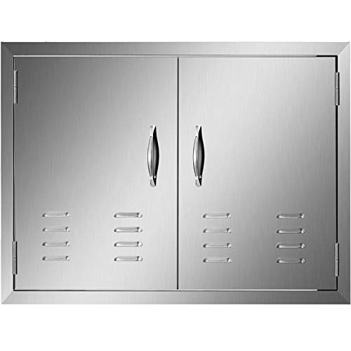 Mophorn 30W x 21H Inch Double Door with Vents BBQ Access Door Stainless Steel Outdoor Kitchen Doors for BBQ Island