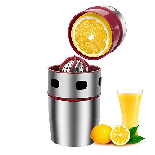 AoKns Küche Manuelle Entsafter, Zitronenpresse Mini Edelstahl, Handpresse Saftpresse (Silber Rot)