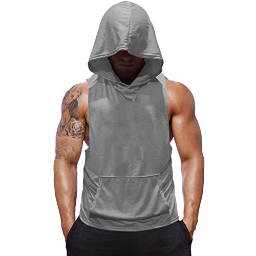 SZKANI Mens Sleeveless Hoodie Fitness Vest Bodybuilding Stringers Workout Tank Tops (2X-Large, Gray)