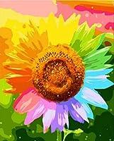 DIY数字油絵 塗り絵キット パズル油絵 色の花びら デジタル油絵 手塗り 数字キットによる絵画 絵かき インテリア 壁飾り ホームデコレーション 40x50cm(額縁なし)