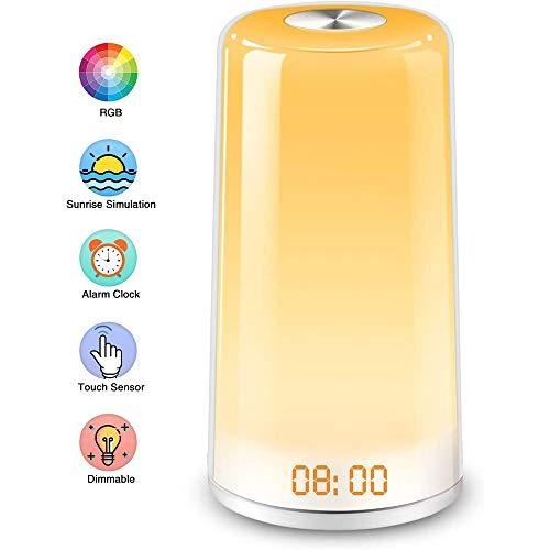 BIGMALL Wecklicht Wecker Sonnenaufgang Simulation Digital LED Uhr Mit 5 Natürlichen Klängen & Schlummerfunktion, Touch Control Dimmbare Nachttischlampe Für Schlafzimmer Geschenk