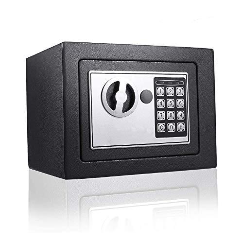 Mini-Safe Digitaler Elektronischer Tresor Schlüsseltresor mit PIN-Code und Schlüssel Tresor Klein Feuerfester und wasserdichter Wandtresor Möbeltresor Für Schmuck Bargeld 23x17x17 cm (Schwarz)