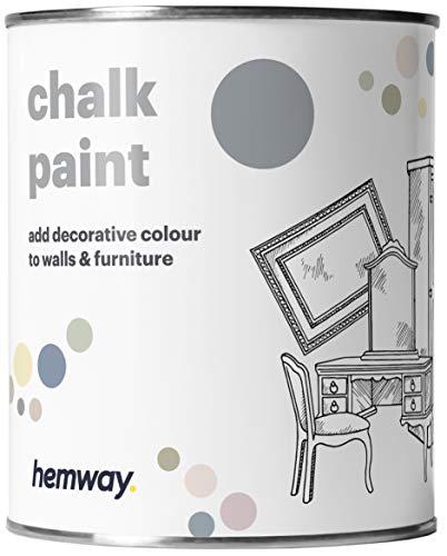 Hemway - Pintura de tiza (36 colores disponibles), acabado mate para pared y muebles, 1 litro, color gris pizarra