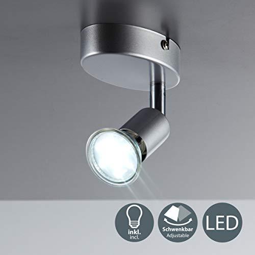 Lámpara de techo orientable incl. 1 bombilla LED GU10 de 3 W I Color de la luz blanco cálido 3000K I Metal I Color titanio I 230 V I IP20 I Foco de techo