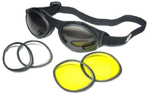 BIRDZ OWL Motorcycle Goggles 3 Interchangeable Lenses Clear Smoke Yellow Lens Have Anti-Fog Coating Shatterproof, Polycarbonate, UV400 Protection