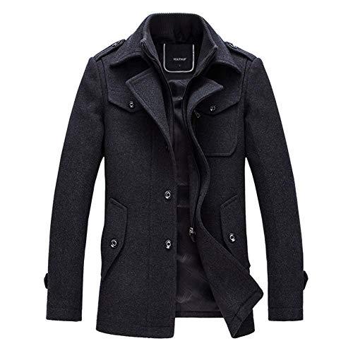 YOUTHUP Herren Wintermantel mit Stehkragen und Hochwertige Materialqualität Lange Jacke (3XL, Grau) 3XL Grau