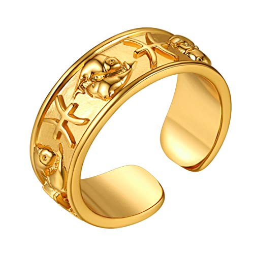 FindChic Horoscope Ring 18k Gold Plated Star Sign Opening Ring Astrology Jewellery Birthday Gift for Men and Women Adjustable Personalised Engravable Pisces Zodiac Ring