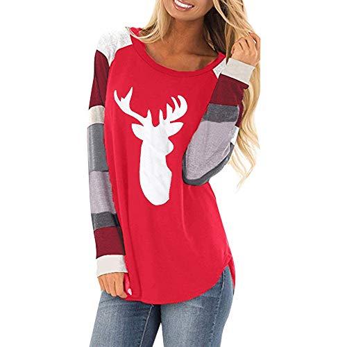 Auifor Kerst- en wijsvrouwen streep Oanzet casual punt-shirt dames lossen kanten blouse