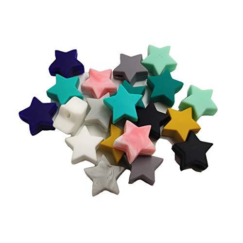 100 cuentas de silicona con forma de estrella de 14 mm para bricolaje, cuentas de lactancia y collar de lactancia.