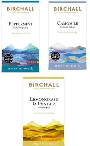 Birchall Tea Variety Pack (3 Flavours - Peppermint, Camomile,Lemongrass & Ginger) Total of 45 Plastic-Free Prism Tea Bags
