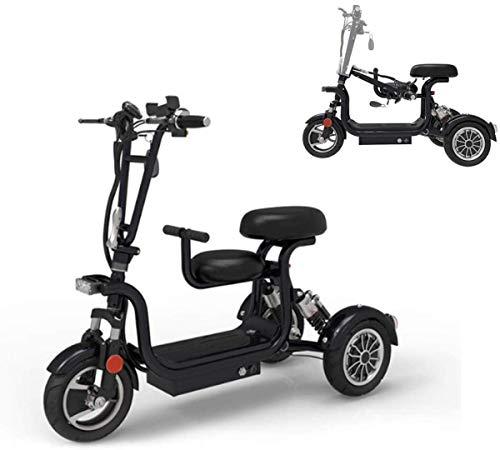 ZYW Triciclo Eléctrico Plegable para Adultos Ocio Al Aire Libre Ocio De Ocio Scooter 48V10A Batería De Litio 45Km Damas/Ancianos Discapacidad Triciclo Eléctrico, Negro,Negro,10AH