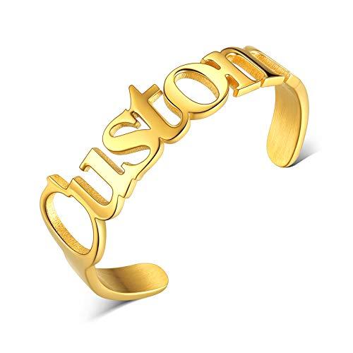 Anillo Personalizado para Mujeres Anillo Nombre Personalizable Acero Inoxidable 316L Oro Amarillo 18K Anillo de Compromiso para Boda