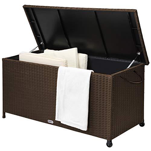 Deuba Casaria Auflagenbox 122x56x61 cm Poly Rattan Wasserdicht Rollbar 2 Gasdruckfedern Kissen Garten Box Truhe braun