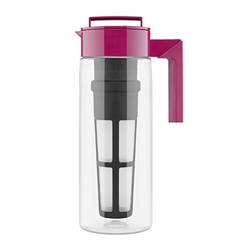 Takeya Iced Tea Maker with Patented Flash Chill Technology Made in USA, 2 Quart, Raspberry