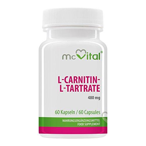L-Carnitin-L-Tartrate - 480 mg extra stark pro Dosis - Fatburner - Muskelaktivator und Herzoptimierer - 60 Kapseln