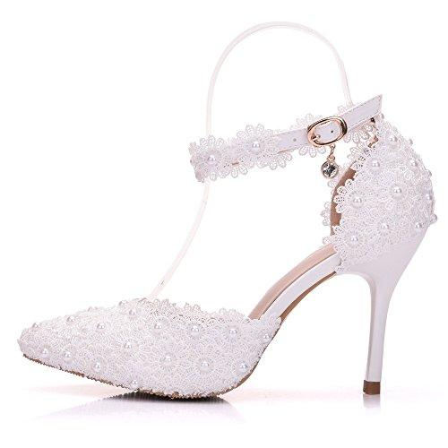 Die weiße Spitze Blumen geschlitzt-Strap Brautschuhe mit feiner Spitze zu Hochzeit Schuhe Damen Sandalen, Weiß 36 schießen