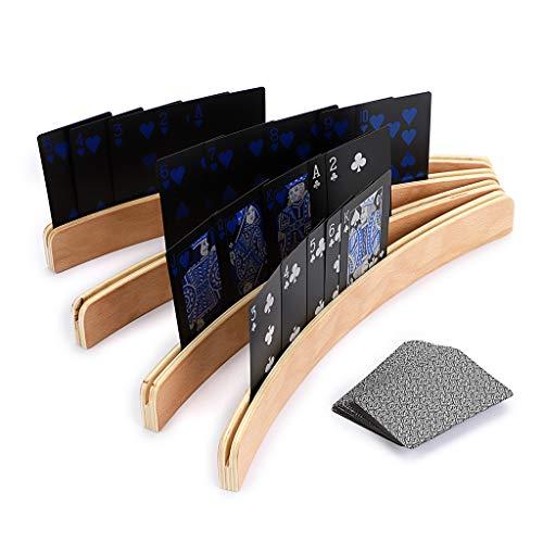 Sumnacon 木製 カードスタンド カードゲーム ボードゲーム カード立て トランプ スタンド 湾曲 アーク形 4本セット
